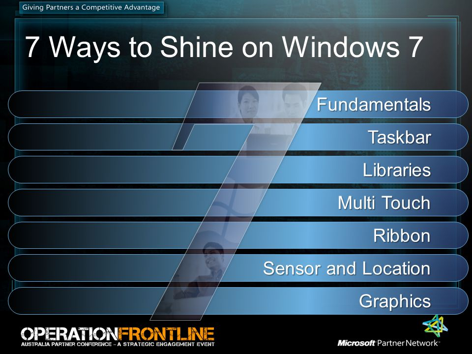 7 Ways to Shine on Windows 7 Fundamentals Taskbar Libraries Multi Touch Ribbon Sensor and Location Graphics