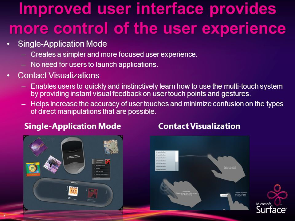 Improved user interface provides more control of the user experience Single-Application Mode –Creates a simpler and more focused user experience. –No
