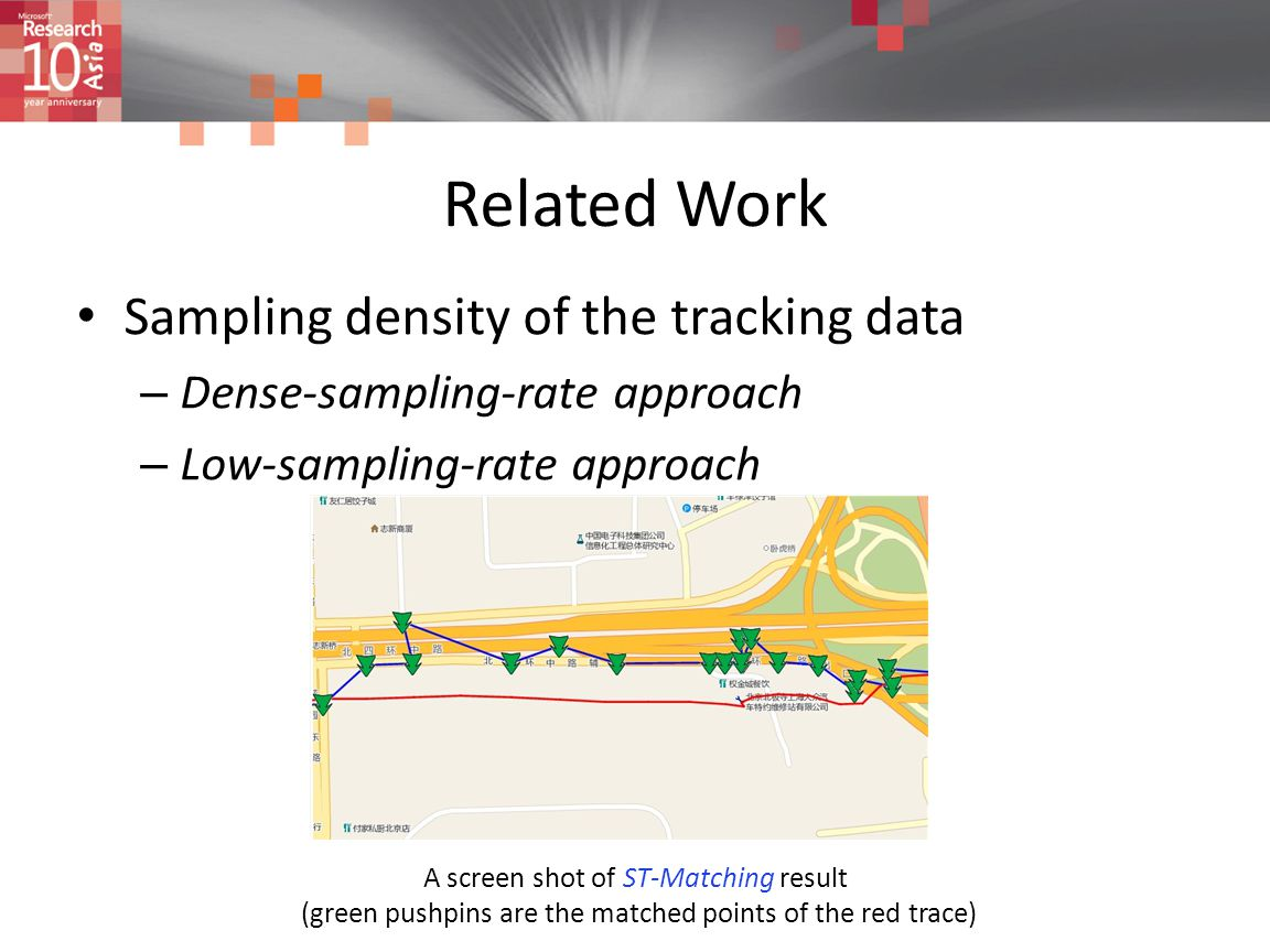 Related Work Sampling density of the tracking data – Dense-sampling-rate approach – Low-sampling-rate approach A screen shot of ST-Matching result (gr