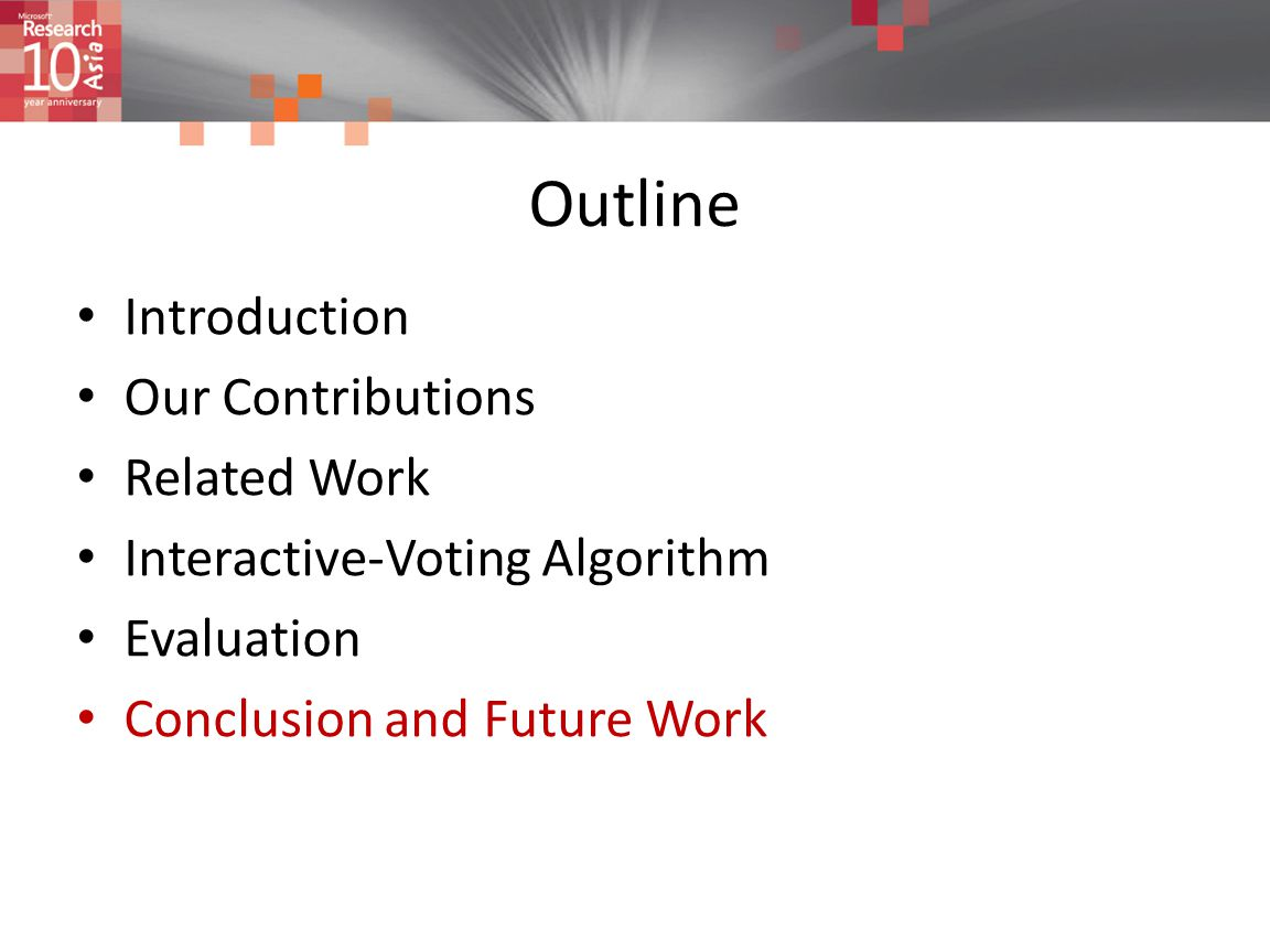 Outline Introduction Our Contributions Related Work Interactive-Voting Algorithm Evaluation Conclusion and Future Work
