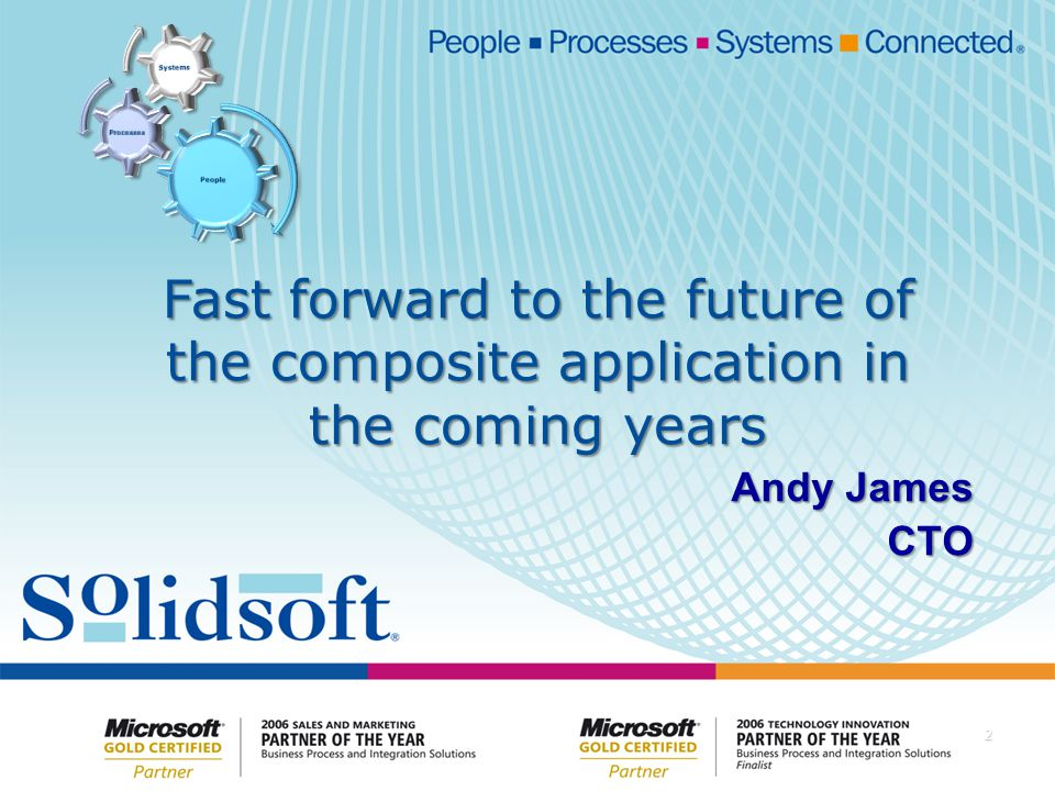 Copyright Solidsoft 2008 Introduction Software Construction Today Software Construction Today Service Orientation and the Composite Application Service Orientation and the Composite Application Fast forward to the future Fast forward to the future Work through a real 'future' Enterprise level composite application Work through a real 'future' Enterprise level composite application Review and Summary Review and Summary Questions Questions