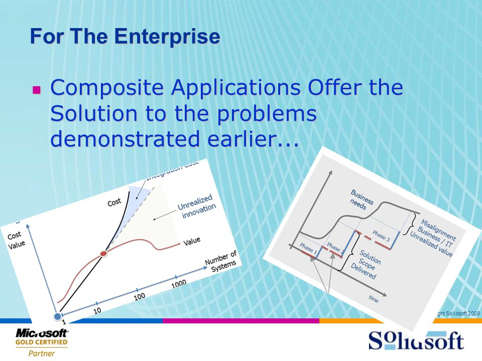 Copyright Solidsoft 2008 For The Enterprise Composite Applications Offer the Solution to the problems demonstrated earlier...