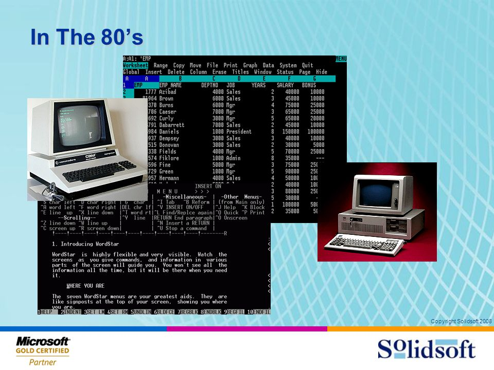 Copyright Solidsoft 2008 In The 80's