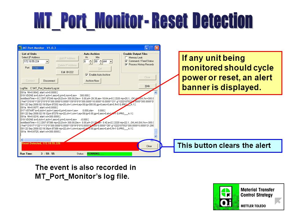 If any unit being monitored should cycle power or reset, an alert banner is displayed.