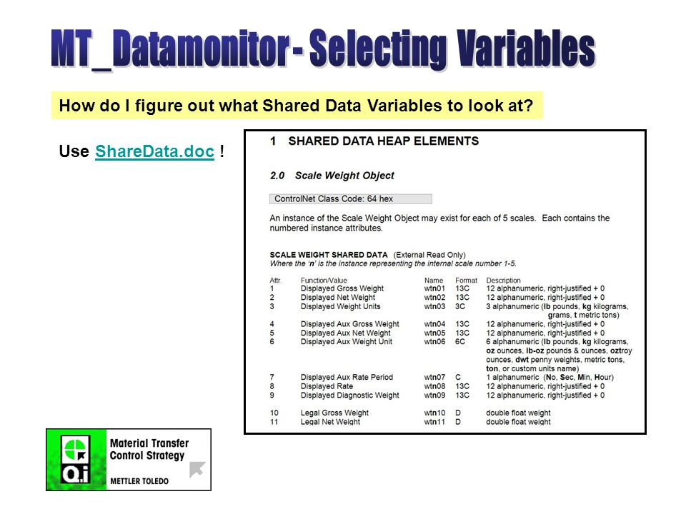 How do I figure out what Shared Data Variables to look at Use ShareData.doc !ShareData.doc