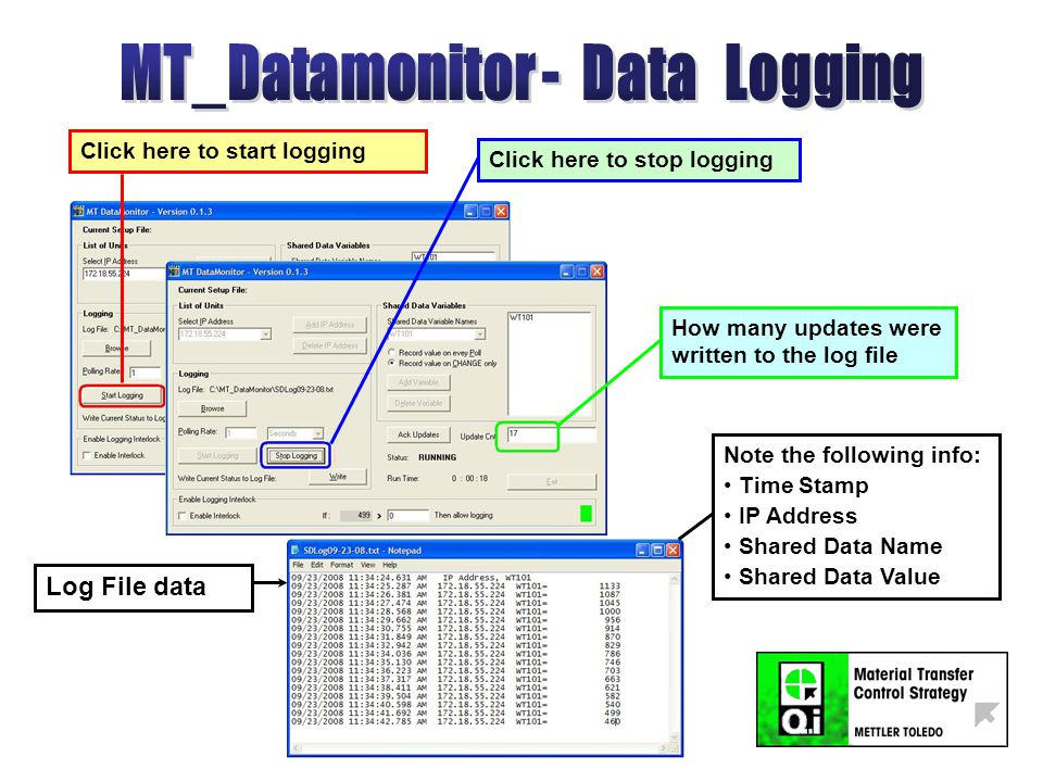 Click here to start logging Click here to stop logging How many updates were written to the log file Log File data Note the following info: Time Stamp IP Address Shared Data Name Shared Data Value