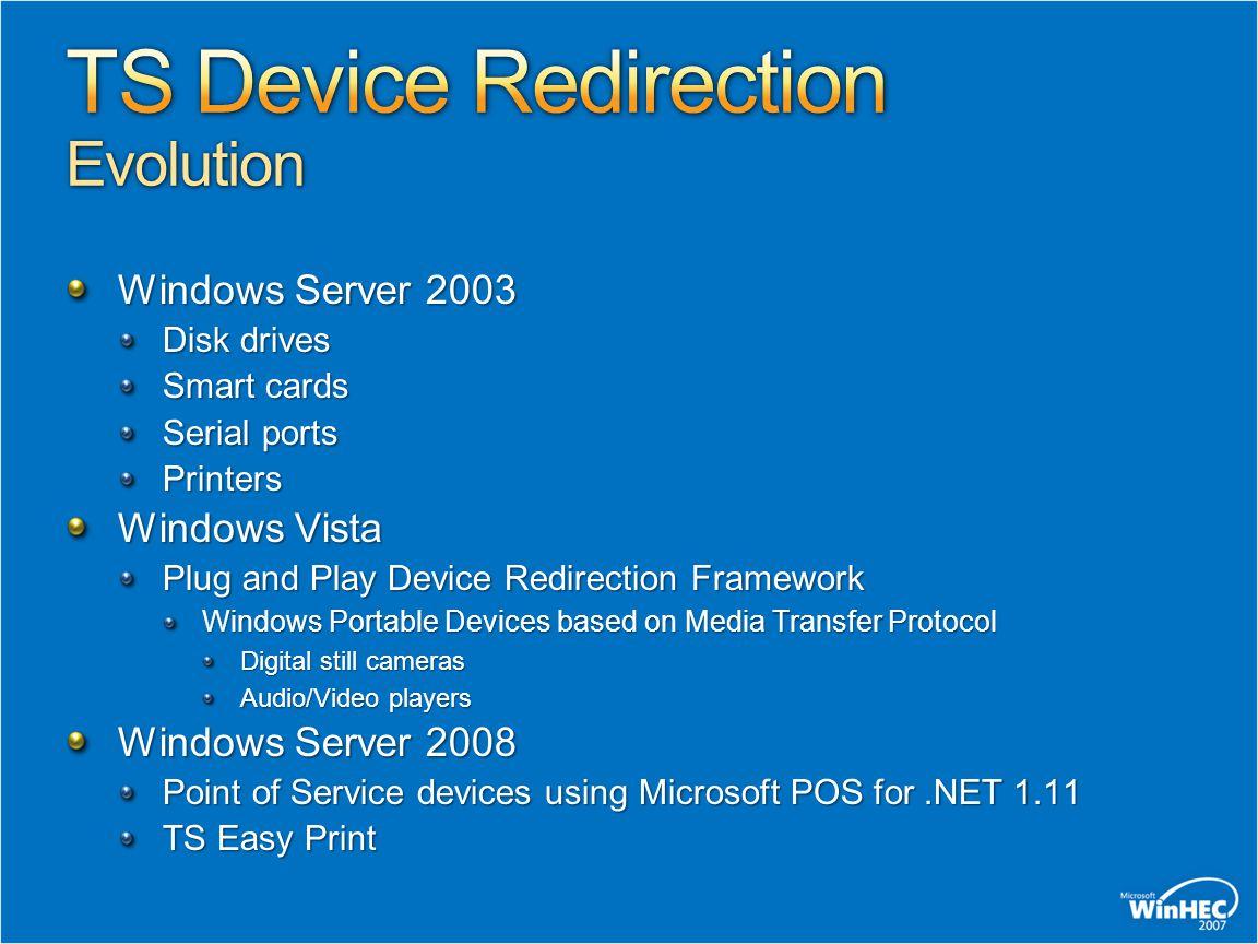 Windows Server 2003 Disk drives Smart cards Serial ports Printers Windows Vista Plug and Play Device Redirection Framework Windows Portable Devices ba