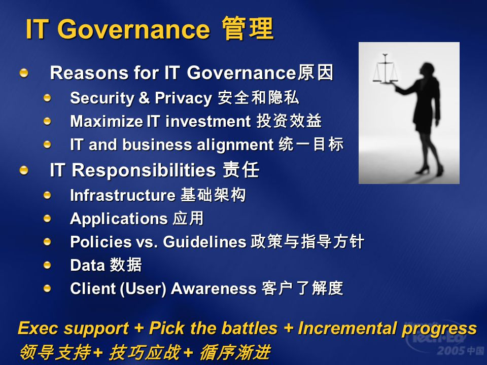 IT Governance 管理 Reasons for IT Governance 原因 Security & Privacy 安全和隐私 Maximize IT investment 投资效益 IT and business alignment 统一目标 IT Responsibilities
