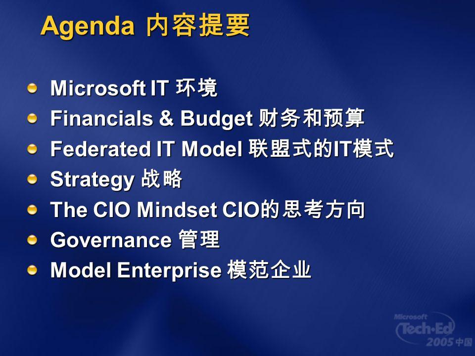 Agenda 内容提要 Microsoft IT 环境 Financials & Budget 财务和预算 Federated IT Model 联盟式的 IT 模式 Strategy 战略 The CIO Mindset CIO 的思考方向 Governance 管理 Model Enterprise 模范企业