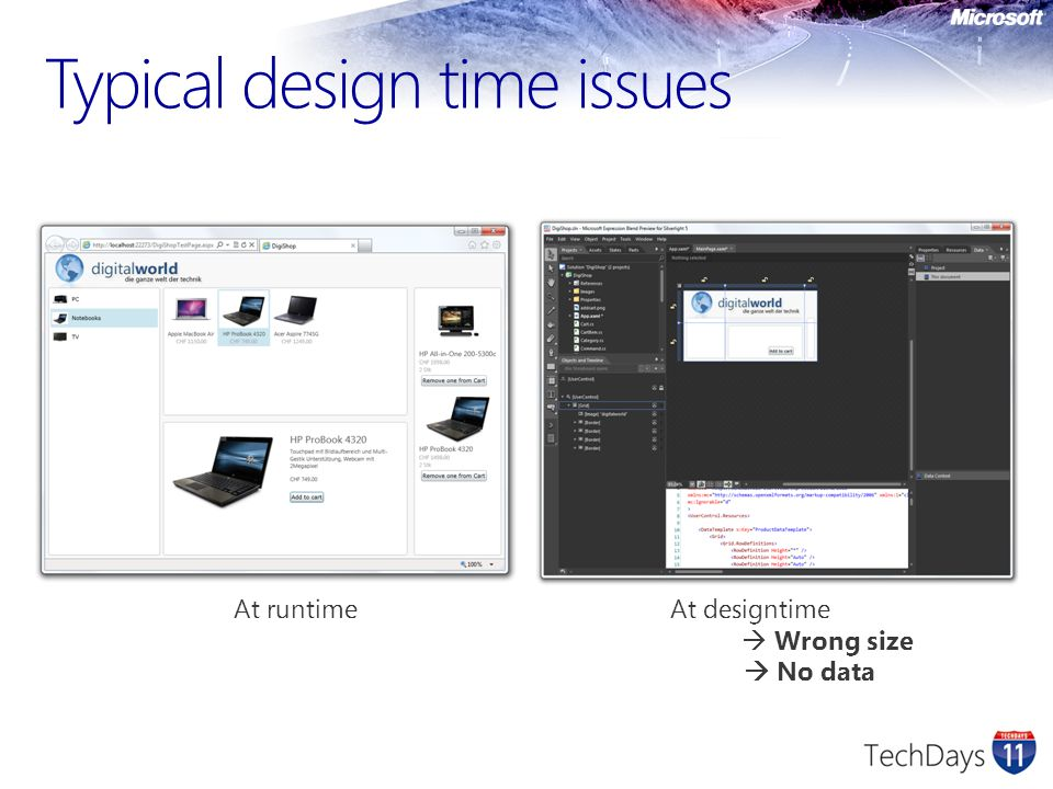 Typical design time issues At runtime At designtime  Wrong size  No data