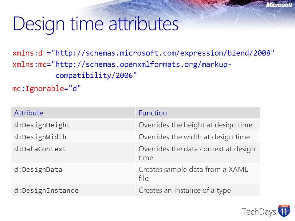 Design time attributes xmlns:d =