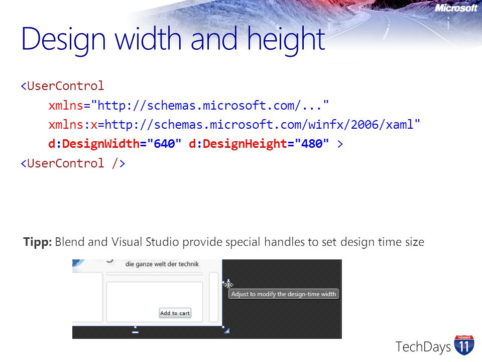 Design width and height <UserControl xmlns=