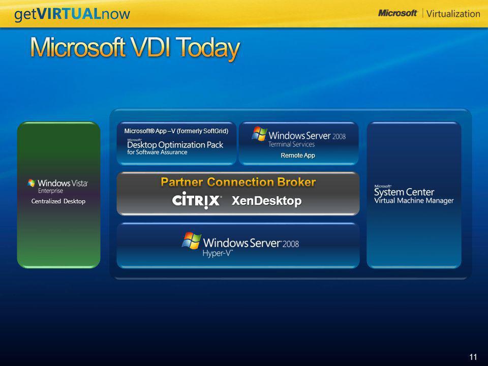 11 Microsoft® App –V (formerly SoftGrid) Remote App Centralized Desktop