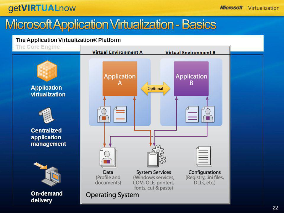 """22 The Application Virtualization® Platform The Core Engine Sequence the application into the virtual """"bubble"""". Dynamically Suite as needed. Publish t"""