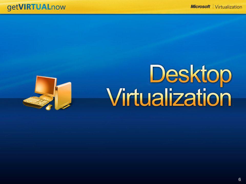 7 VDI (Windows VECD – Windows Vista Enterprise Centralized Desktop), Terminal Services Microsoft® Enterprise Desktop Virtualization based on Microsoft Virtual PC 2007