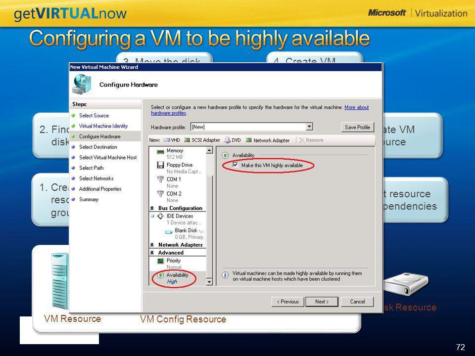 72 VM Resource VM Config Resource Disk Resource 1.Create resource group 2. Find available disk resource 3. Move the disk to resource group 4. Create V
