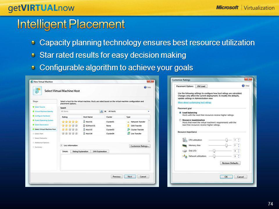 74 Capacity planning technology ensures best resource utilization Star rated results for easy decision making Configurable algorithm to achieve your g