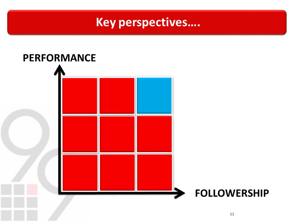Key perspectives…. 11 PERFORMANCE FOLLOWERSHIP