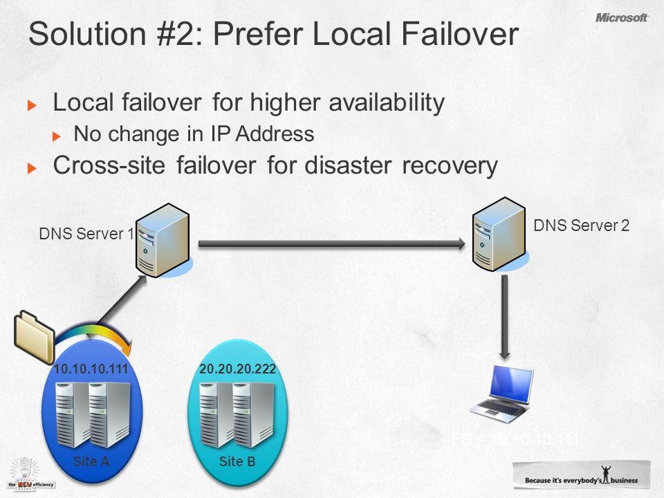 10.10.10.111 DNS Server 1 DNS Server 2 FS = 10.10.10.111 Site ASite B 20.20.20.222