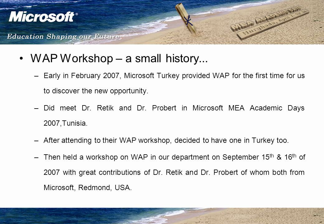 WAP Workshop – a small history...
