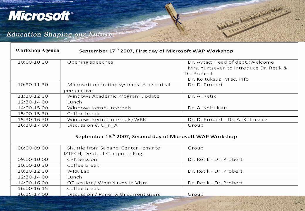 Workshop on WAP, Windows Kernel Source and Internals: Sept.