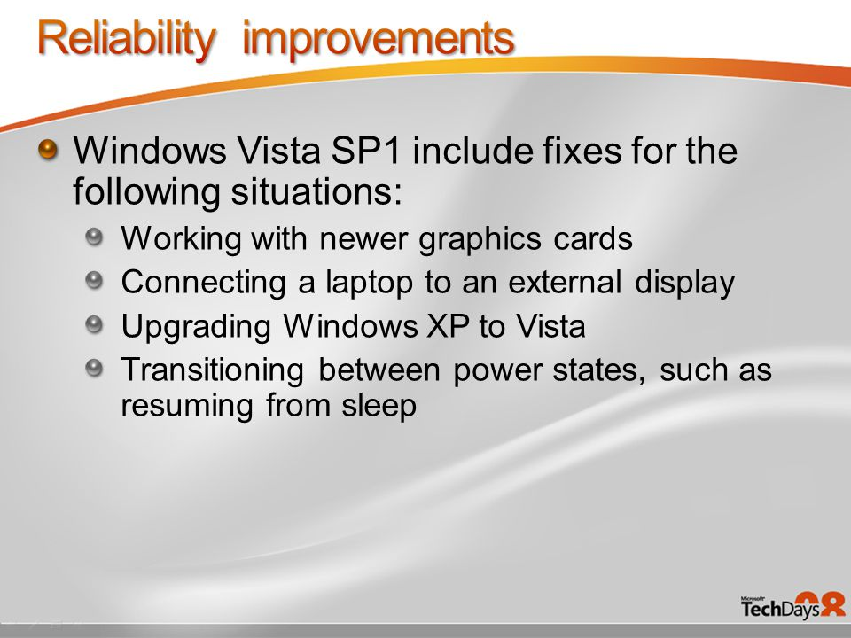 Filesystem improvements Boot & Shutdown updates Performance features updates Back to Work updates Longer battery life