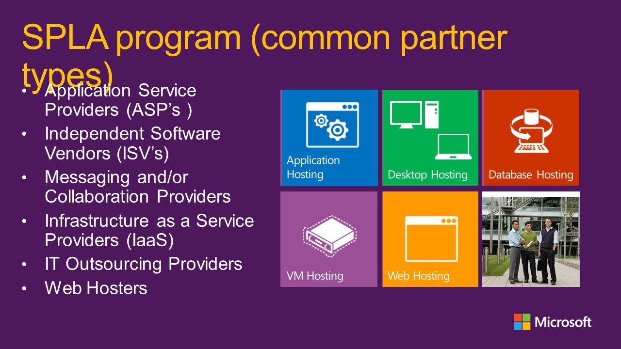 SPLA program (channel) The Services Provider License Agreement (SPLA) enables an organization (service provider/hoster) to license Microsoft products on a monthly basis, over a three-year agreement term, and use these products to provide Software Services to its end-customers.