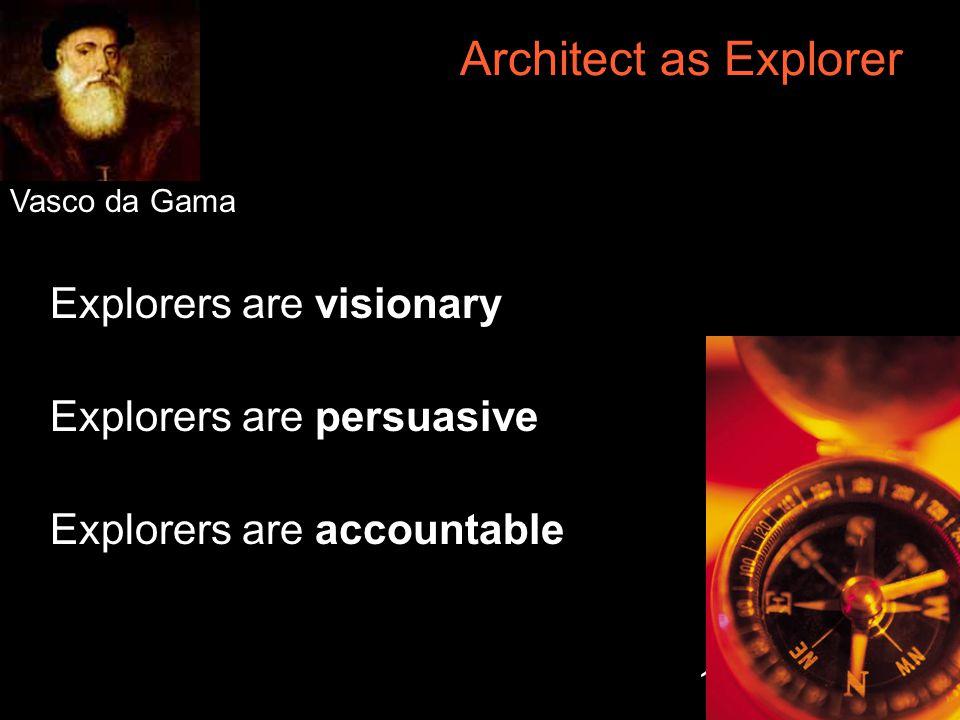 12 Architect as Explorer Explorers are visionary Explorers are persuasive Explorers are accountable Vasco da Gama