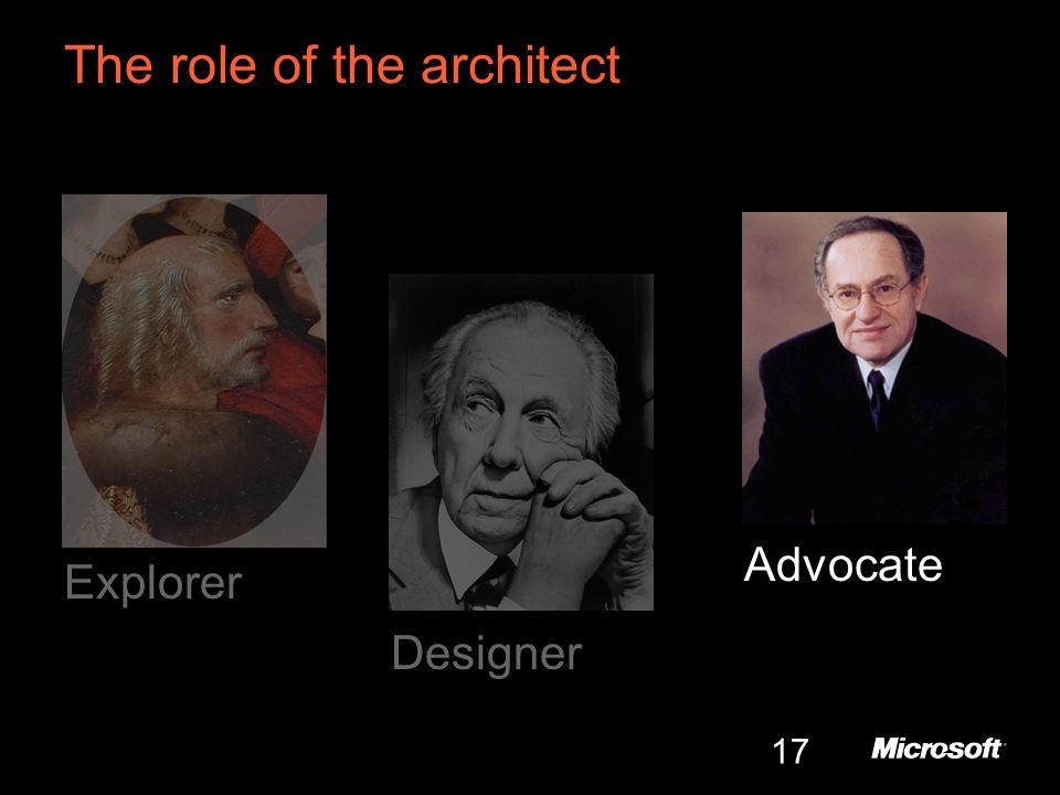 17 The role of the architect Explorer Designer Advocate
