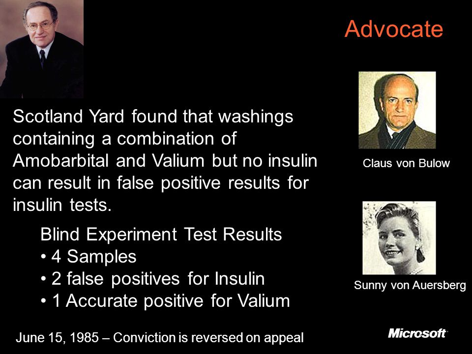 Advocate Scotland Yard found that washings containing a combination of Amobarbital and Valium but no insulin can result in false positive results for insulin tests.