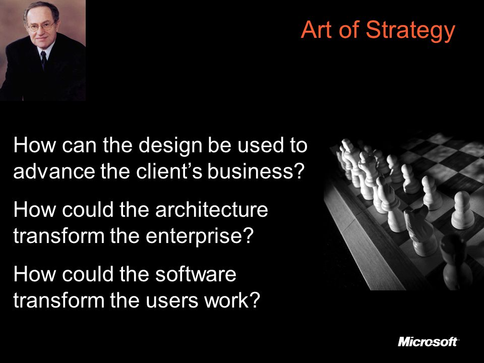 Art of Strategy How can the design be used to advance the client's business.