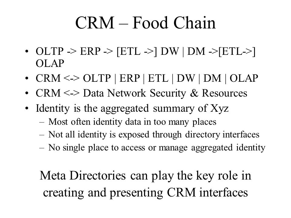 CRM – Food Chain OLTP -> ERP -> [ETL ->] DW | DM ->[ETL->] OLAP CRM OLTP | ERP | ETL | DW | DM | OLAP CRM Data Network Security & Resources Identity i