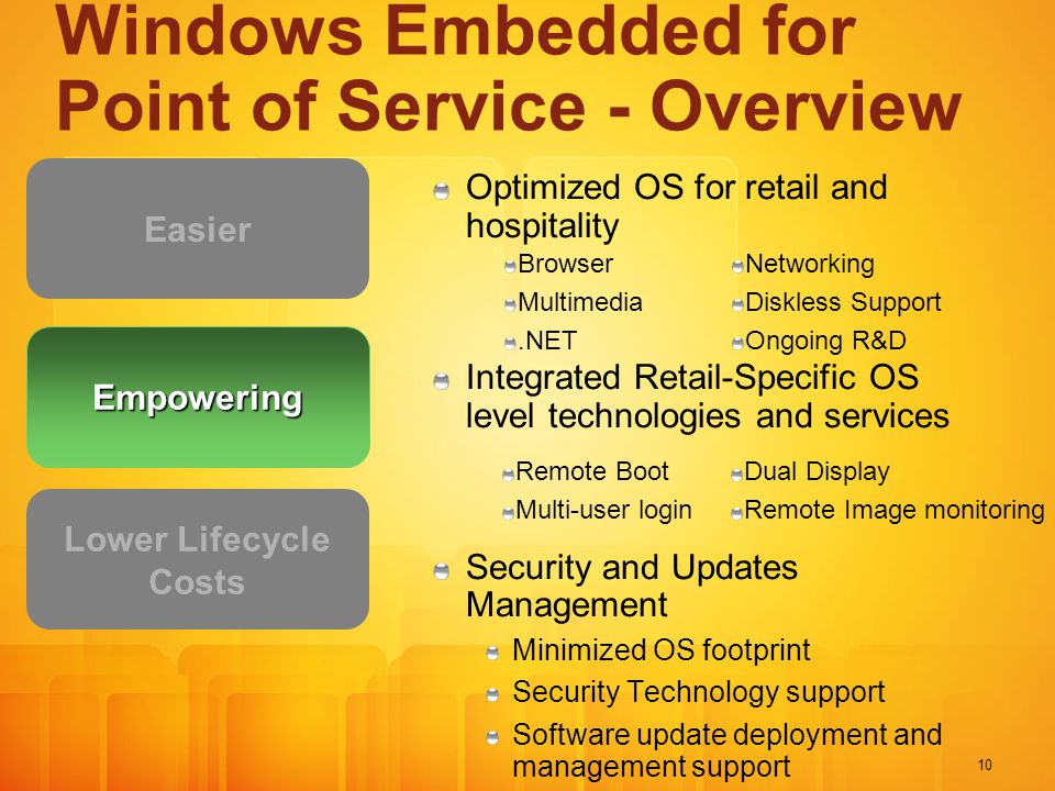 10 Windows Embedded for Point of Service - Overview Optimized OS for retail and hospitality Integrated Retail-Specific OS level technologies and services Security and Updates Management Minimized OS footprint Security Technology support Software update deployment and management support Easier Lower Lifecycle Costs Empowering Remote Boot Multi-user login Dual Display Remote Image monitoring Browser Multimedia.NET Networking Diskless Support Ongoing R&D