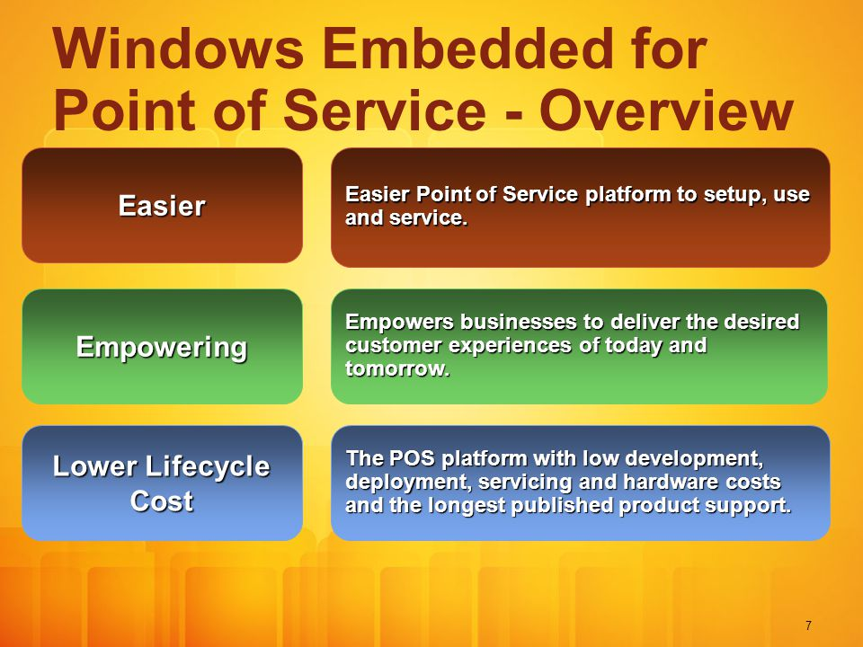 7 Windows Embedded for Point of Service - Overview Easier Empowering Easier Point of Service platform to setup, use and service.