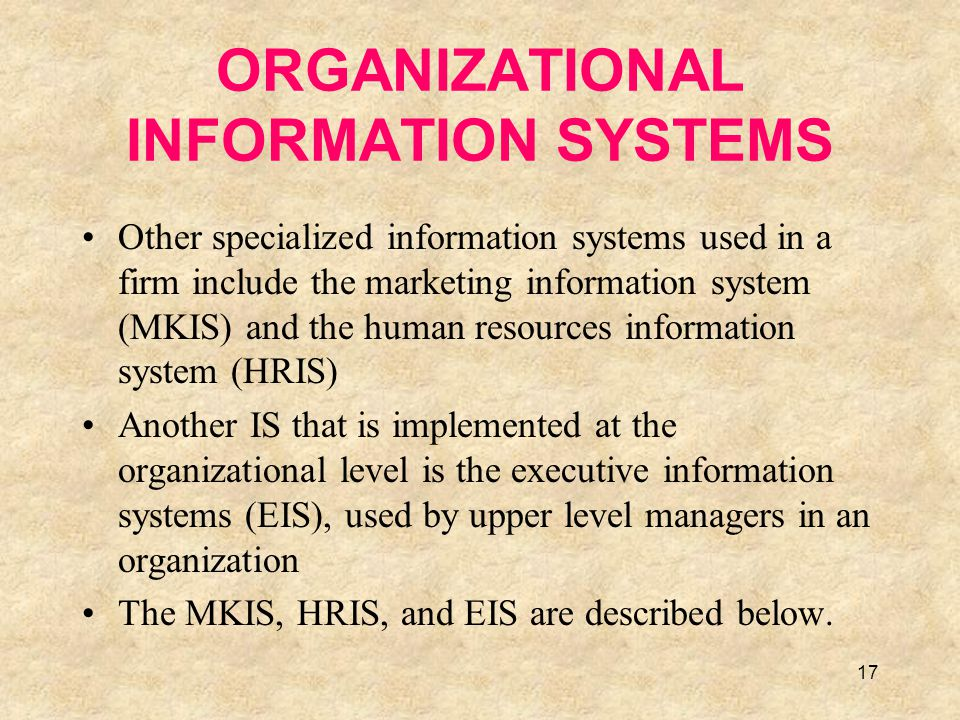 18 The Marketing Information System An MKIS is made up of input and output subsystems connected by a database (Figure 8.7) The Input Subsystems are: Transaction processing system The marketing research subsystem The marketing intelligence subsystem Each output subsystem provides information about four critical elements in the marketing mix: –The product subsystem –The place subsystem –The promotion subsystem –The price subsystem