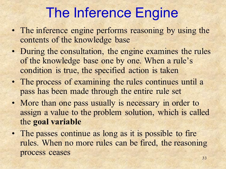 33 The Inference Engine The inference engine performs reasoning by using the contents of the knowledge base During the consultation, the engine examines the rules of the knowledge base one by one.