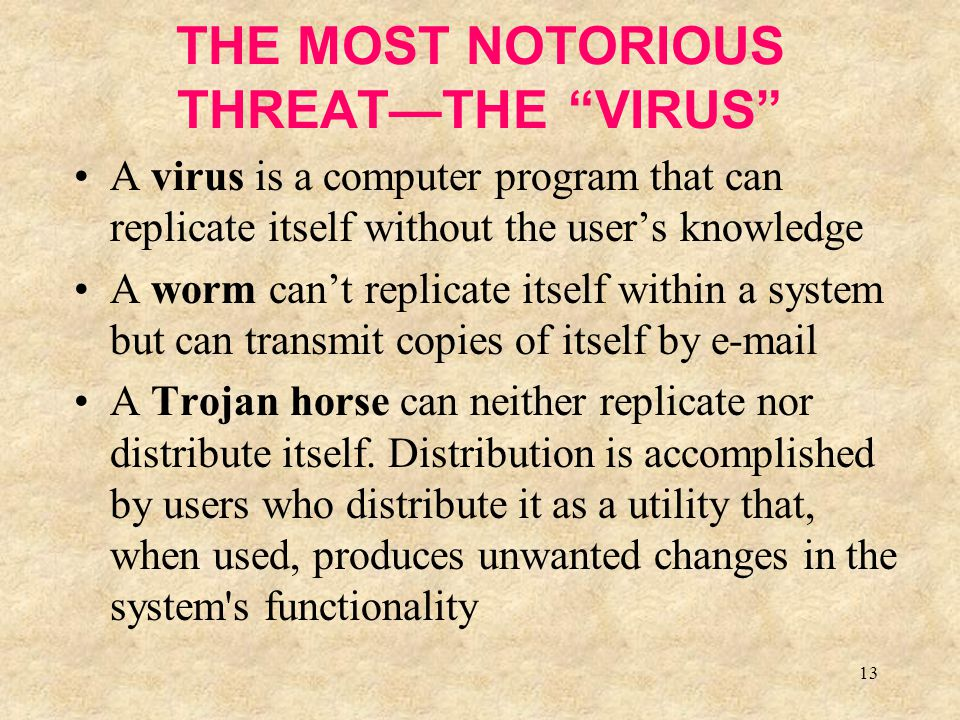 """13 THE MOST NOTORIOUS THREAT—THE """"VIRUS"""" A virus is a computer program that can replicate itself without the user's knowledge A worm can't replicate i"""