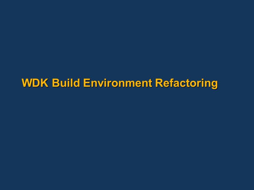 WDK Build Environment Refactoring