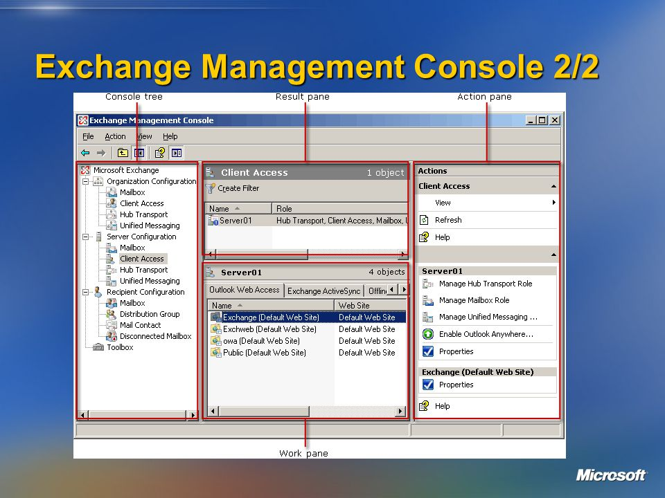 Exchange Management Console 2/2