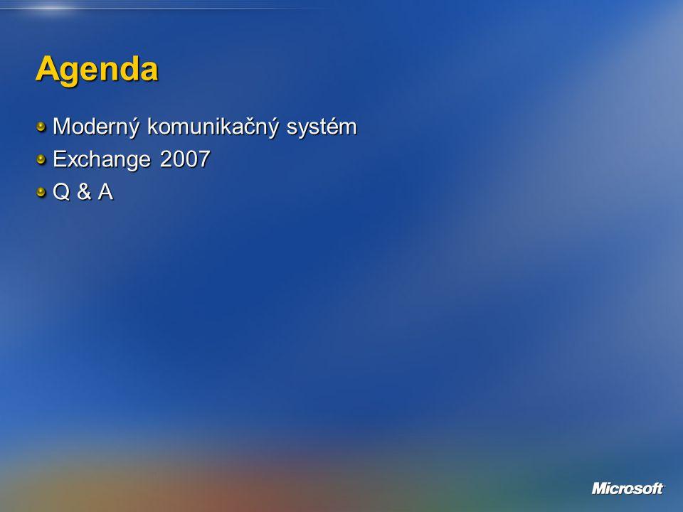 Agenda Moderný komunikačný systém Exchange 2007 Q & A