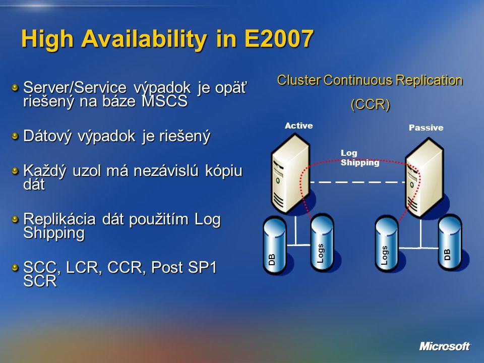 High Availability in E2007 Server/Service výpadok je opäť riešený na báze MSCS Dátový výpadok je riešený Každý uzol má nezávislú kópiu dát Replikácia dát použitím Log Shipping SCC, LCR, CCR, Post SP1 SCR Active DB Logs Passive Log Shipping Cluster Continuous Replication (CCR)