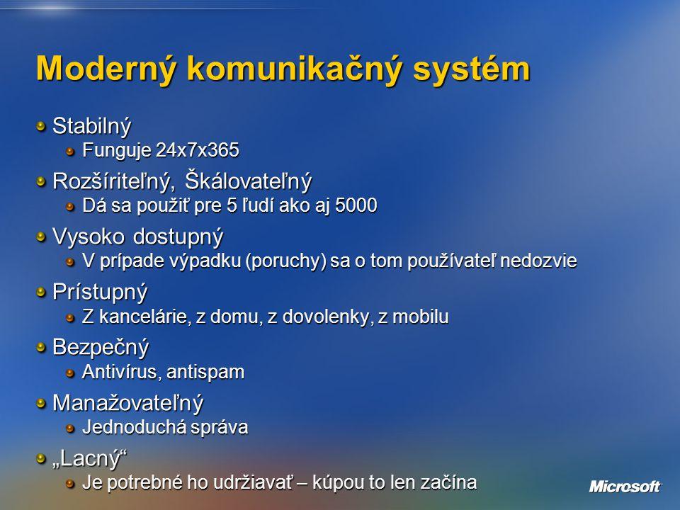 """Moderný komunikačný systém Stabilný Funguje 24x7x365 Rozšíriteľný, Škálovateľný Dá sa použiť pre 5 ľudí ako aj 5000 Vysoko dostupný V prípade výpadku (poruchy) sa o tom používateľ nedozvie Prístupný Z kancelárie, z domu, z dovolenky, z mobilu Bezpečný Antivírus, antispam Manažovateľný Jednoduchá správa """"Lacný Je potrebné ho udržiavať – kúpou to len začína"""