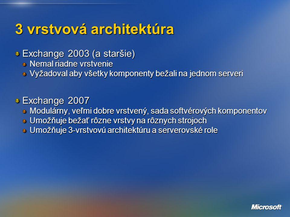 3 vrstvová architektúra Exchange 2003 (a staršie) Nemal riadne vrstvenie Vyžadoval aby všetky komponenty bežali na jednom serveri Exchange 2007 Modulárny, veľmi dobre vrstvený, sada softvérových komponentov Umožňuje bežať rôzne vrstvy na rôznych strojoch Umožňuje 3-vrstvovú architektúru a serverovské role
