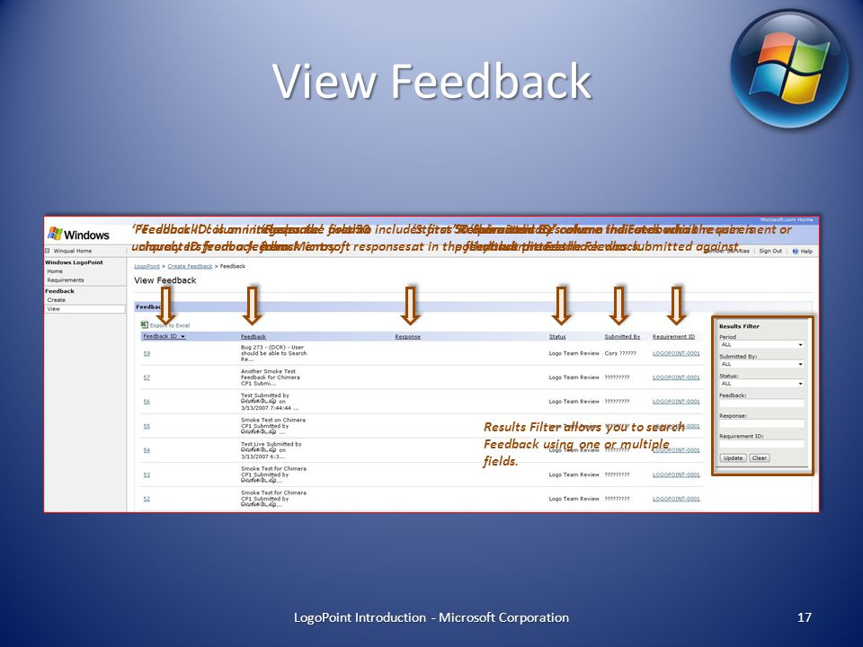 View Feedback LogoPoint Introduction - Microsoft Corporation 17 'Feedback ID' is an integer value used to uniquely ID feedback items.