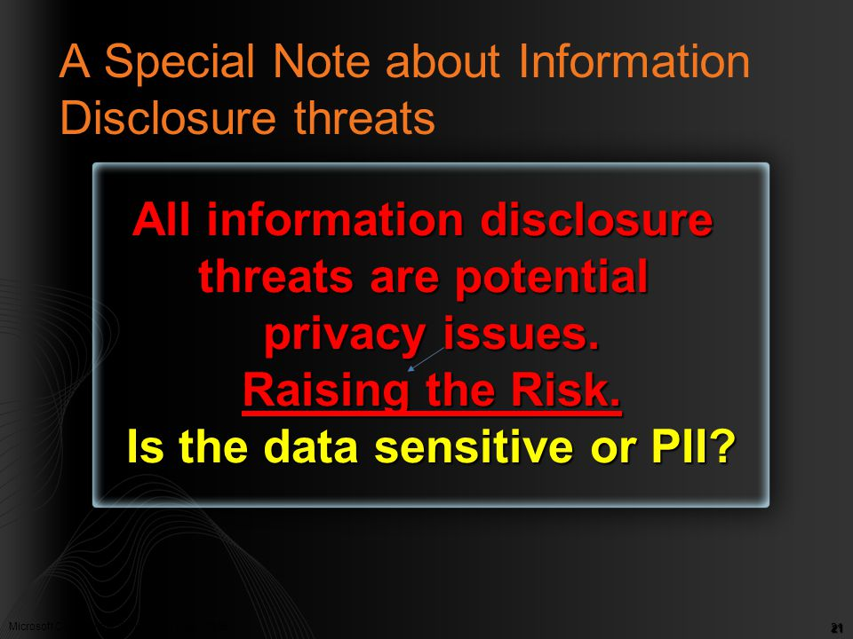 Microsoft Confidential. © Microsoft Corp. 2005 21 A Special Note about Information Disclosure threats All information disclosure threats are potential