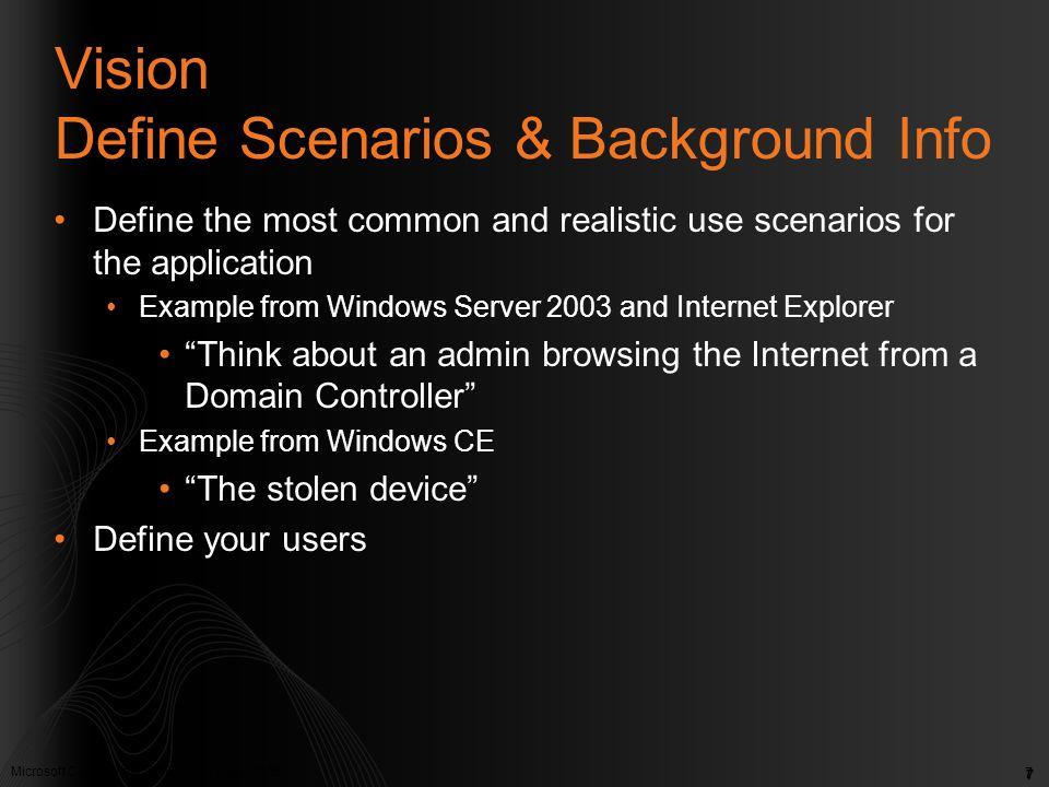 Microsoft Confidential. © Microsoft Corp. 2005 7 Vision Define Scenarios & Background Info Define the most common and realistic use scenarios for the