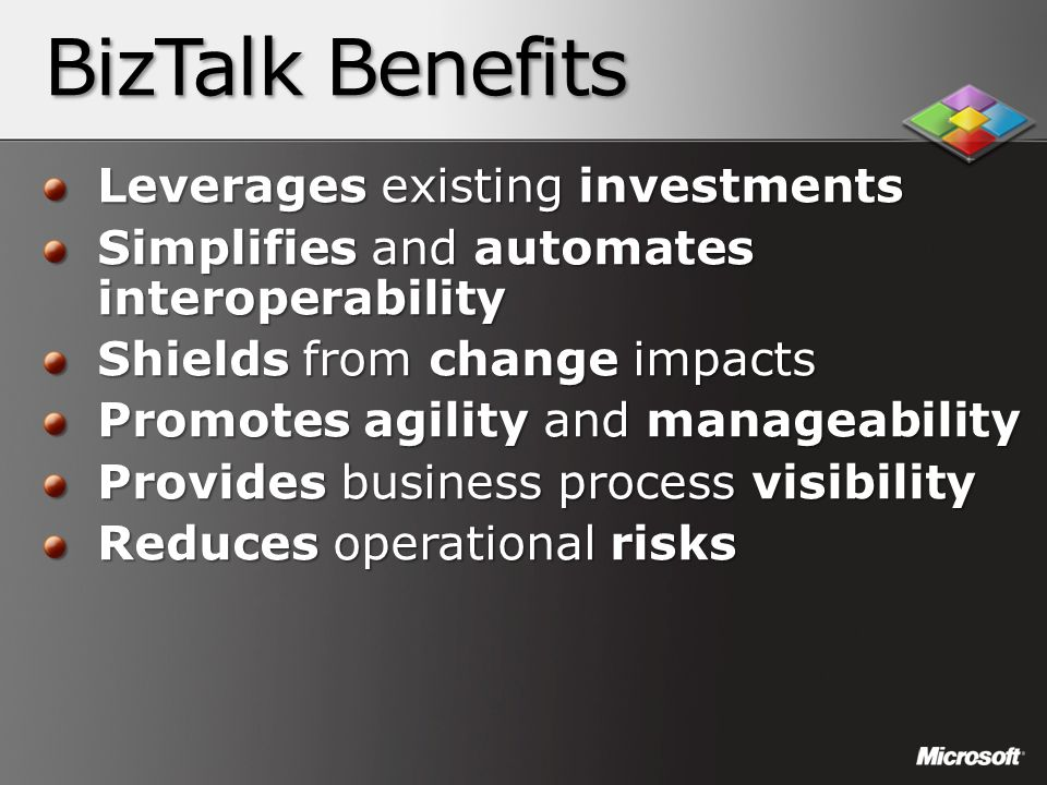 BizTalk Benefits Leverages existing investments Simplifies and automates interoperability Shields from change impacts Promotes agility and manageabili