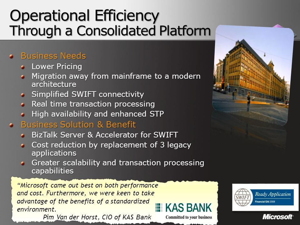 Business Needs Lower Pricing Migration away from mainframe to a modern architecture Simplified SWIFT connectivity Real time transaction processing Hig