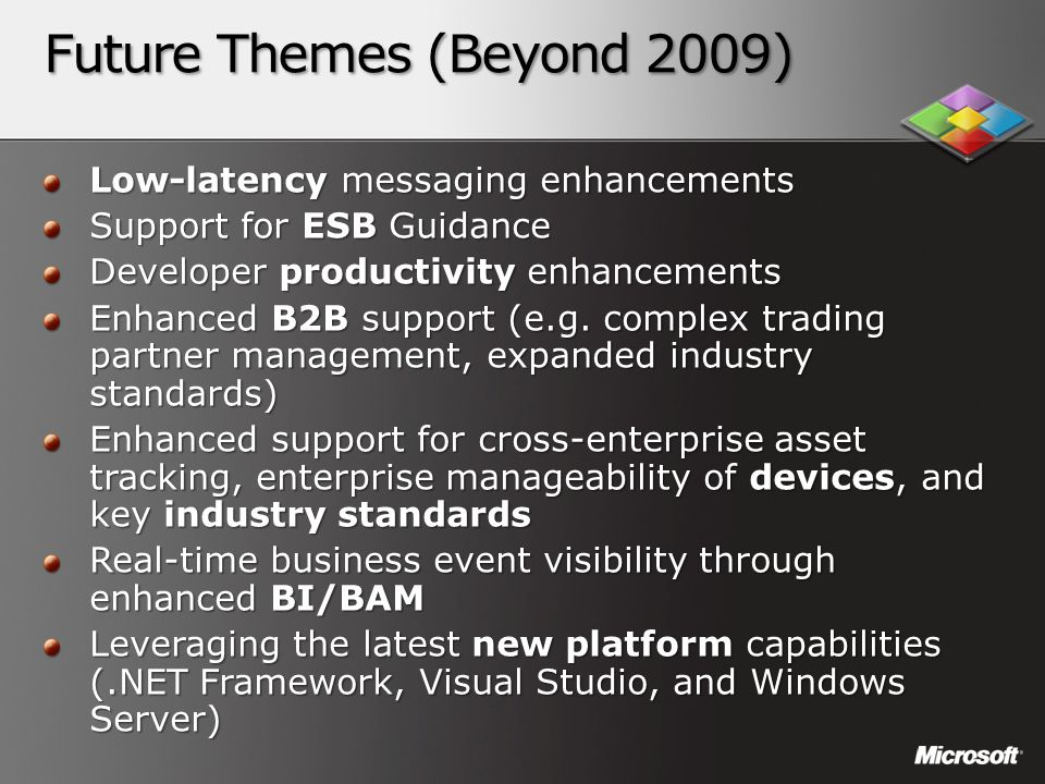 Future Themes (Beyond 2009) Low-latency messaging enhancements Support for ESB Guidance Developer productivity enhancements Enhanced B2B support (e.g.