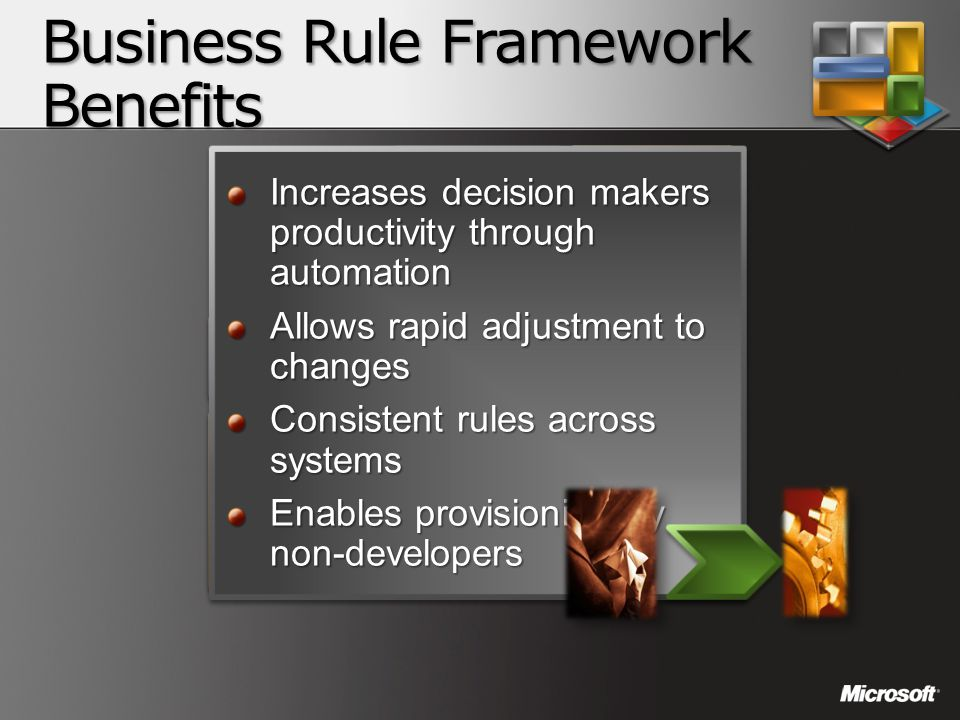 Business Rule Framework Benefits RFID Platform Business to Business Integration Business Activity Monitorin g MessagingMessaging OrchestrationOrchestr